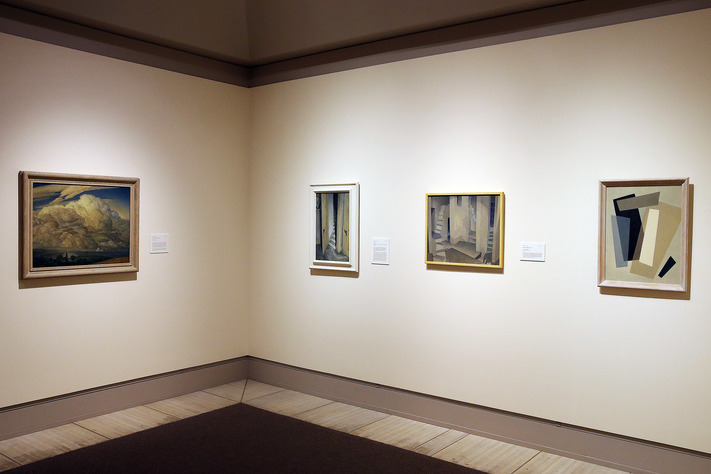 Works by Marvin Cone show his progression from landscape to abstract in the Frederick Schlesselman Gallery at the Cedar Rapids Museum of Art in Cedar Rapids on Tuesday, Dec. 13, 2016. The first three galleries have been recently updated. (Liz Martin/The Gazette)