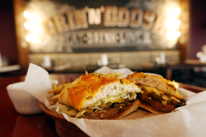 A cheese steak at Grin N Goose in Cedar Rapids on Wednesday, Feb. 8, 2017. (Liz Martin/The Gazette)
