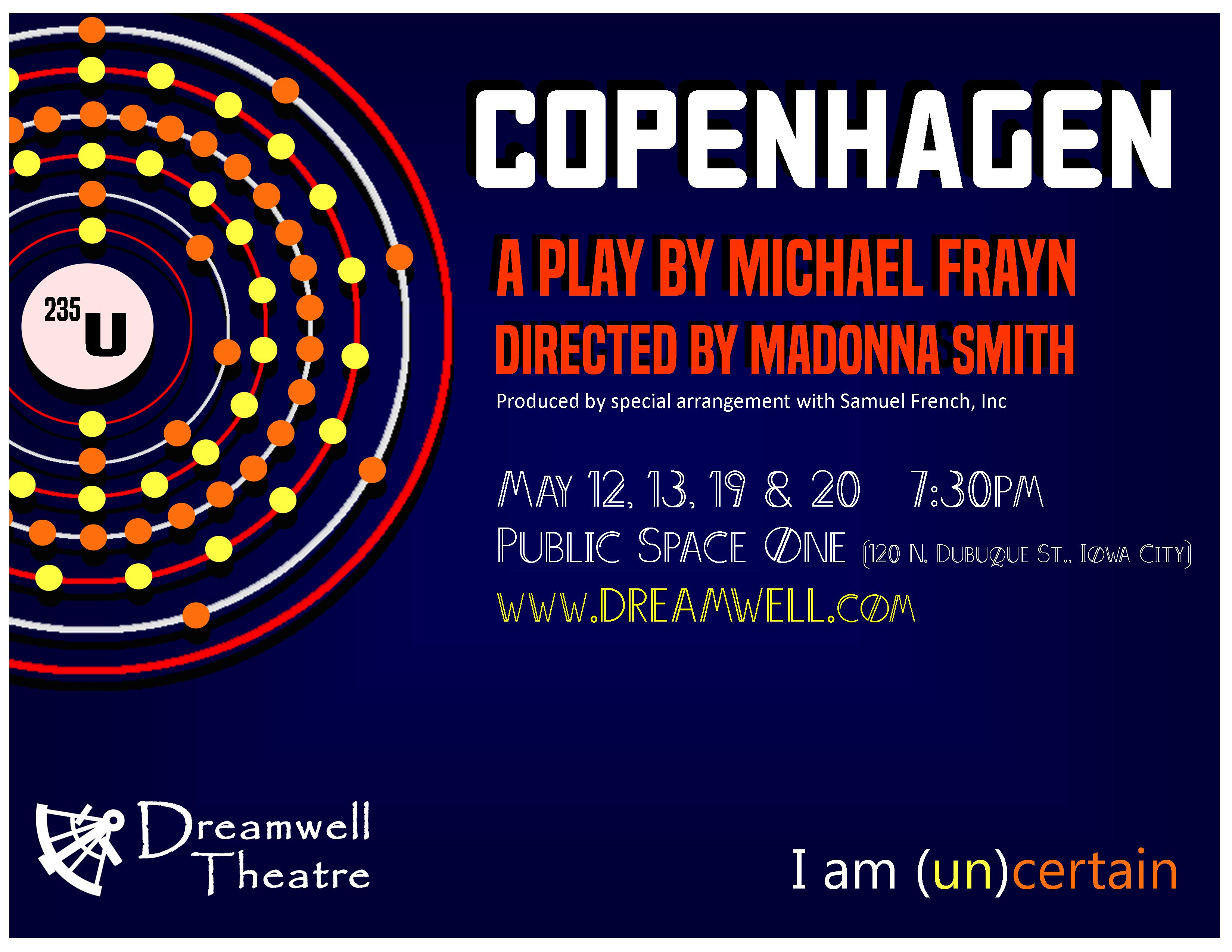 an analysis of the play copenhagen by michael frayn On a calm and cool january evening, we found ourselves attending a stimulating  showing of michael frayn's 1998 tony award-winning play,.