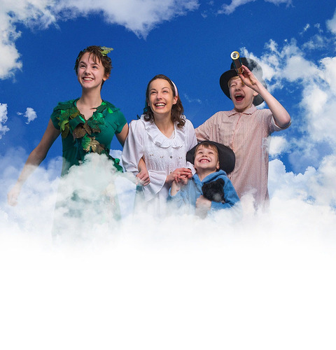 Peter Pan is leading the Darling children on sky-high adventures in the musical opening Friday and continuing through May 28 at Theatre Cedar Rapids. The characters are (from left), Peter Pan (Sophie Lindwall), Wendy (Nikki Stewart), Michael (Charlie Sanchez-Masi) and John (Maclain Ray). (TINT)