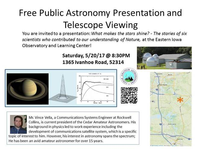 Free public astronomy presentation and telescope viewing