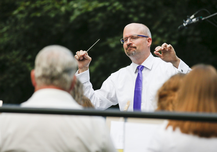 Steve Shanley directs the final concert of the Cedar Rapids Municipal Band in Bever Park in Cedar Rapids on Sunday, August 7, 2016. The show featured classics and contemporary band music. (Rebecca F. Miller/The Gazette)