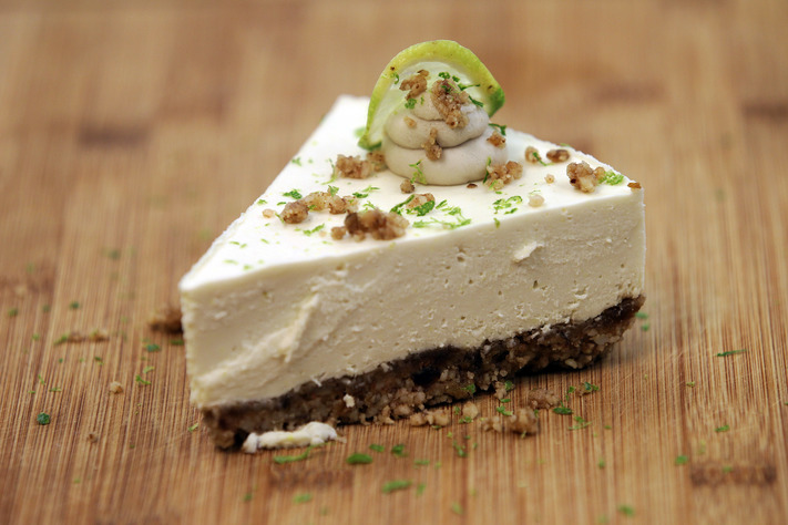 Key lime pie features a macadamia nut crust and coconut milk whipped topping at Rawlicious, a raw, vegan food cafe inside Delve MIY in Cedar Rapids, on Monday, July 31, 2017. (Liz Martin/The Gazette)