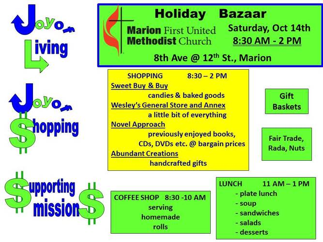 Joy of Shopping:  Marion UMW Holiday Bazaar