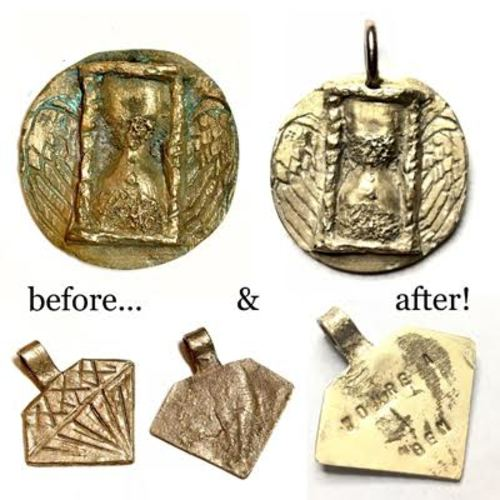 New 2-part class:  BronzClay Pendant Before and After Firing