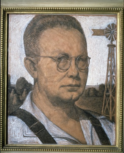 "Grant Wood's ""Study for Self Portrait,"" 1932, charcoal and pastel on paper, 15 1/4 inches by 12 3/4 inches at the Cedar Rapids Museum of Art."
