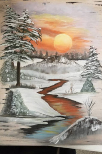 "Painting Class at Scrapmania ""Winter Creek"""