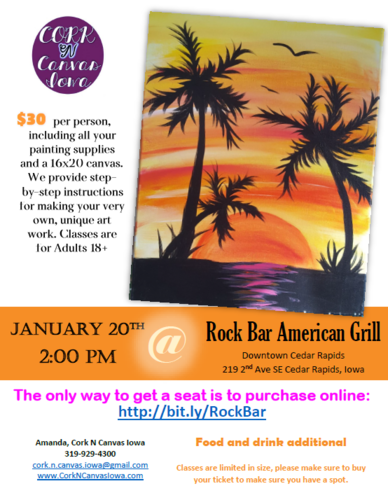 Rock Bar American Grill - Cork N Canvas Iowa