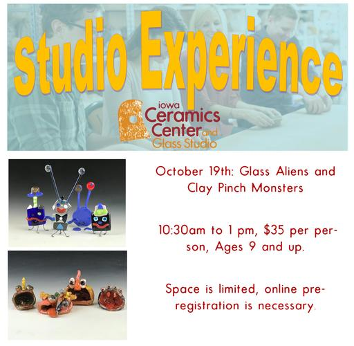 Studio Experience Workshop--Glass Aliens and Clay Pinch Pot Monsters