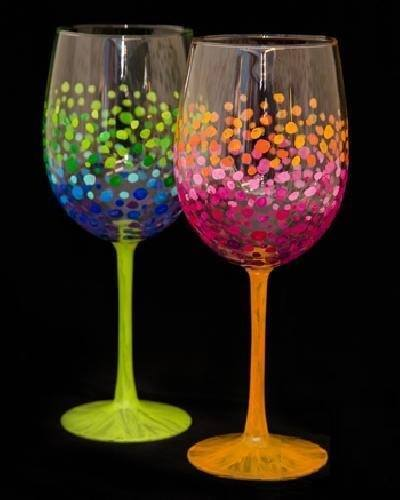 Paint Nite - Colorful Circles Wine Glasses