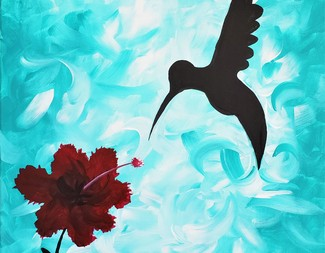 Search hibiscus and humming bird