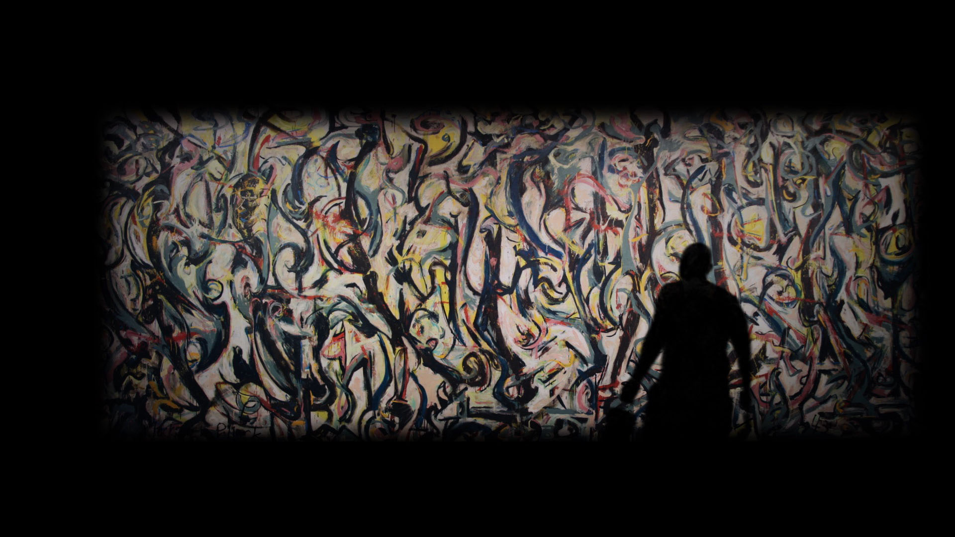 Look behind the scenes of the ui 39 s jackson pollock mural for Mural pollock