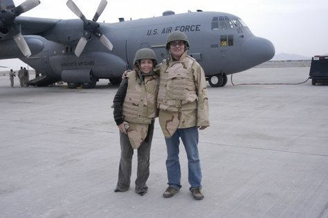 Kathleen Madigan with John Bowman during a USO tour