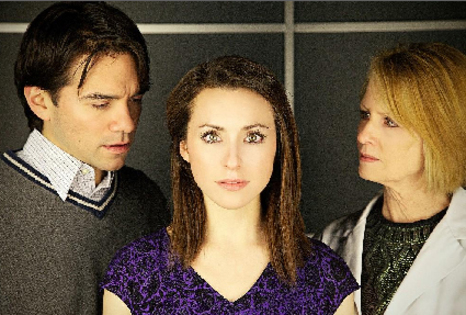 """The Summerland Project,"" features (from left) Christopher Cole as Carter Summerland, Angela Billman as the synthetic copy of his dead wife, Amerlia Summerland, and Marty Norton as Dr. Ellen Beckett."