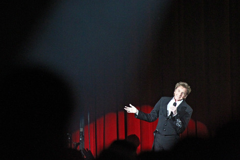 "Barry Manilow performs on his ""One Last Time!"" tour stop at U.S. Cellular Center in Cedar Rapids on Friday, April 8, 2016. (Liz Martin/The Gazette)"
