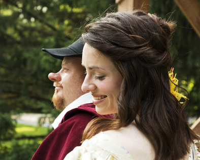 "Jason Alberty and Angela Meisterling Billman shine in their starring roles in ""Cyrano de Bergerac,"" performing through July 20, 2013, on the outdoor stage behind Brucemore mansion in Cedar Rapids. (Len Struttmann photo)"