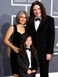 'Weird' Al Yankovic, wife Suzanne and daughter Nina at The 54th Annual GRAMMY Awards, February 12, 2012 in Los Angeles, California. (Photo by Jeff Vespa/WireImage)